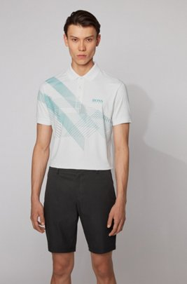 Stretch-jersey polo shirt with mixed-print graphic, White