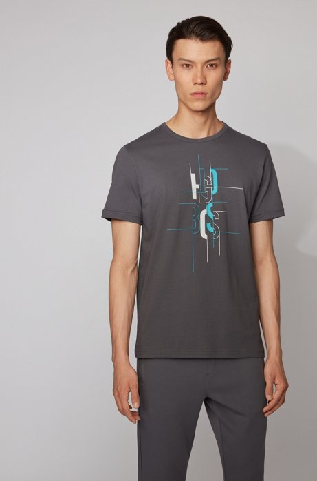 T-Shirt aus Baumwolle mit Logo-Artwork, Dunkelgrau