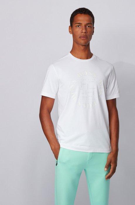 T-shirt van stretchkatoen met stads- en logoprint, Wit