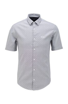 Camicia slim fit in cotone dobby bicolore, Blu scuro