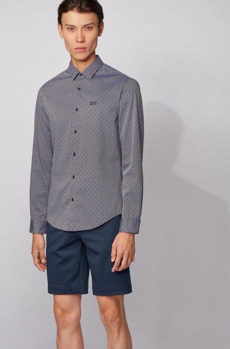 Slim-Fit Hemd aus Baumwolle mit zweifarbiger Webstruktur, Dunkelblau