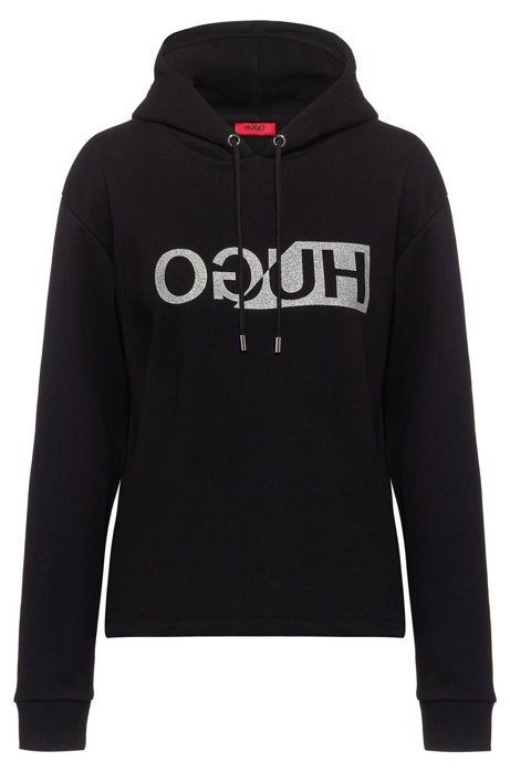 Relaxed-fit hoodie in cotton terry with reverse logo, Black
