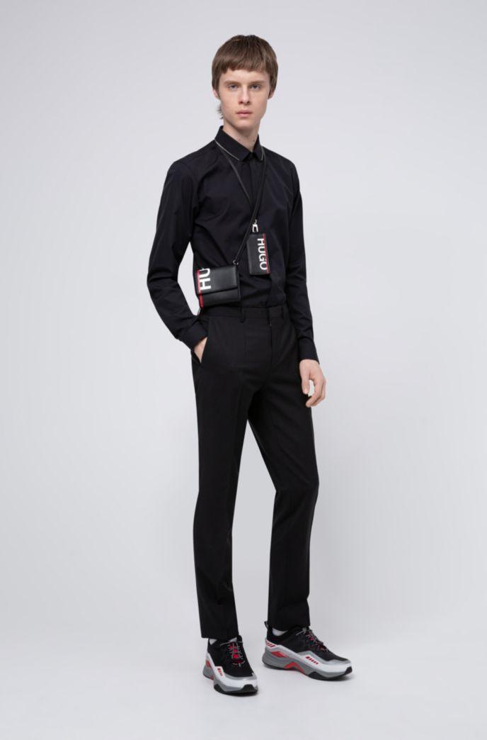 Camicia extra slim fit in cotone con colletto rifinito con zip