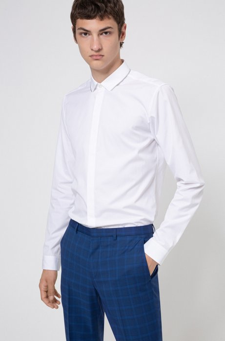 Extra-slim-fit cotton shirt with zip-trimmed collar, White