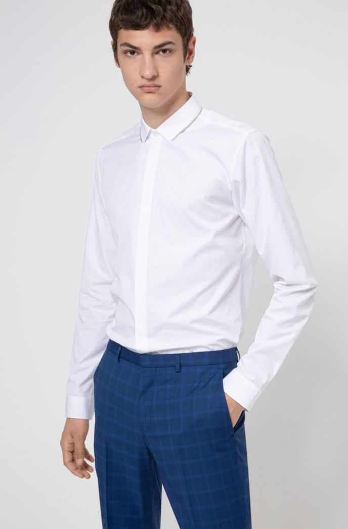 Extra-slim-fit cotton shirt with zip-trimmed collar
