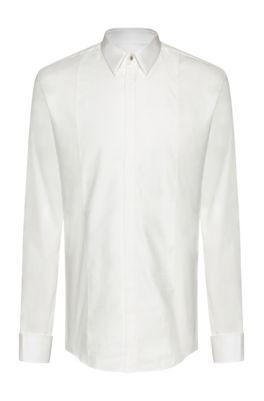 Chemise Slim Fit habillée à plastron à carreaux ton sur ton, Blanc