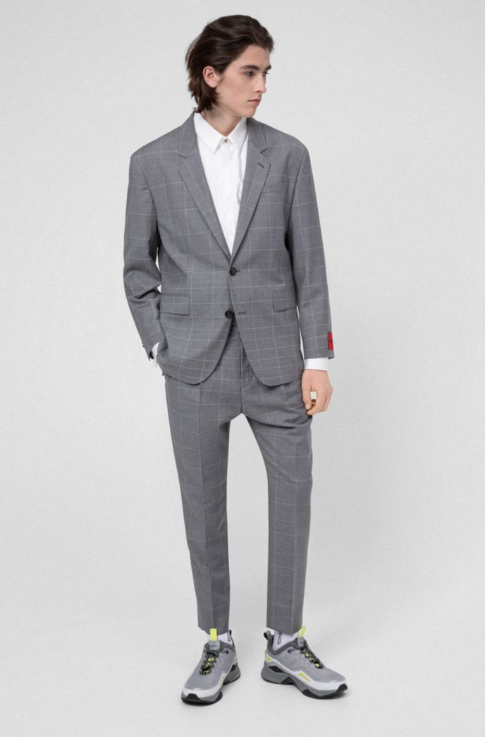 Slim-fit formeel overhemd met ton-sur-ton geruit borststuk