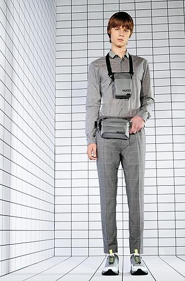 Dégradé 格纹超修身棉衬衫,  082_淡灰色