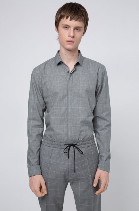 Camicia extra slim fit in cotone con stampa a quadri dégradé, Grigio chiaro