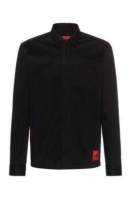 Camisa oversized fit en sarga de algodón con cierre de cremallera, Negro