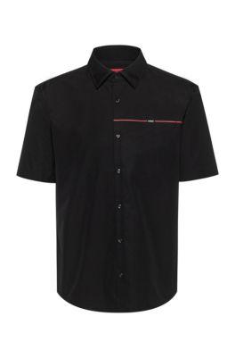 Chemise Slim Fit en popeline de coton avec rayure logo, Noir