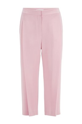 Wide-leg relaxed-fit silk trousers with pleat front, ライトパープル