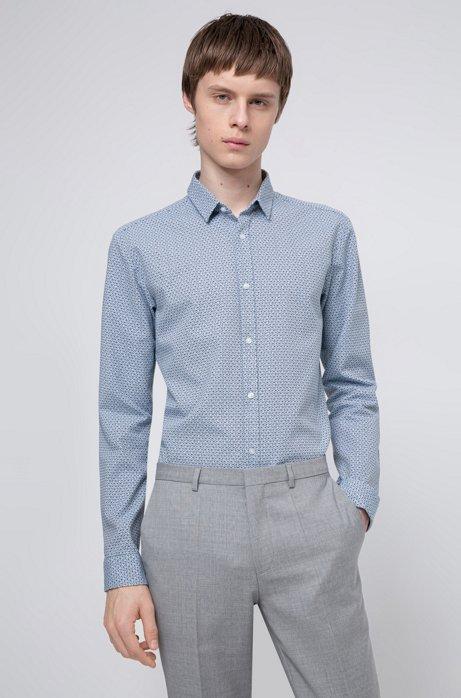 Extra slim-fit overhemd van katoenen canvas met geometrische print, Lichtblauw