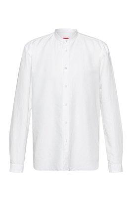 Camicia relaxed fit con finitura lavata in capo, Bianco