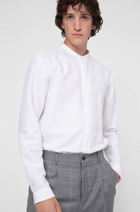 Relaxed-fit shirt with garment-washed finish, White