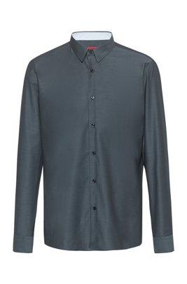 Regular-fit overhemd van gemakkelijk te strijken oxfordkatoen, Donkergrijs