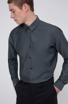 Regular-fit shirt in easy-iron Oxford cotton, Dark Grey