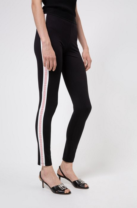 Leggings super skinny con banda laterale con logo, Nero