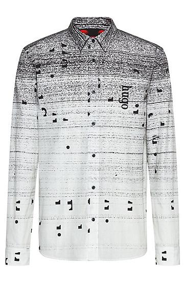 通体印花宽松版型棉衬衫,  001_黑色