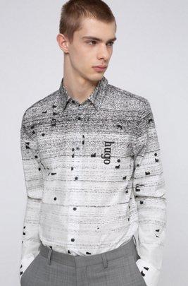 Relaxed-fit overhemd van katoen met all-over-print, Zwart