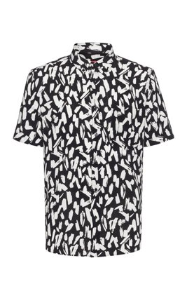 Relaxed-fit button-down shirt with all-over abstract print, Black