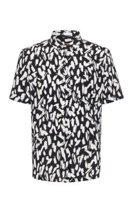 Chemise Relaxed Fit boutonnée à imprimé abstrait intégral, Noir