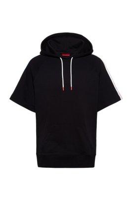 Sweat à capuche en coton à manches courtes avec manches à bande logo, Noir