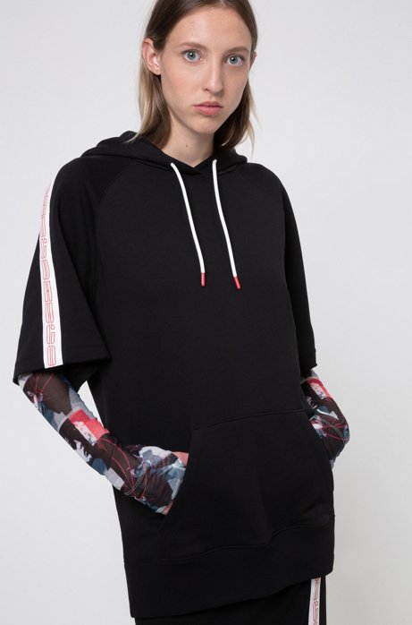Short-sleeved cotton hoodie with logo-tape sleeves, Black