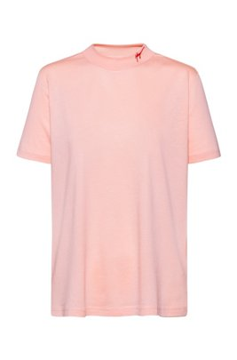 Slim-fit jersey T-shirt with mock neck, Light Red