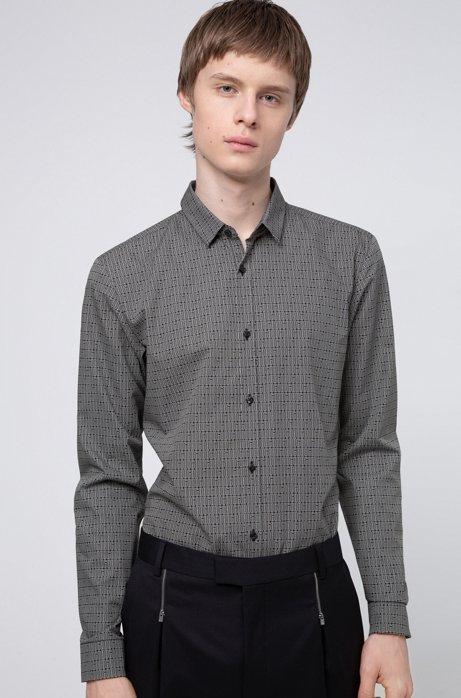 Extra-slim-fit shirt with all-over logo print, Black