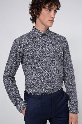 Extra slim-fit overhemd van katoen met all-over-print, Lichtblauw