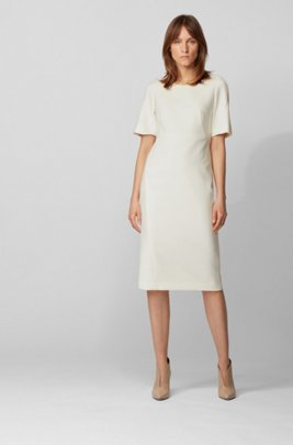 Robe mi-longue en tissu stretch double face portugais, Blanc