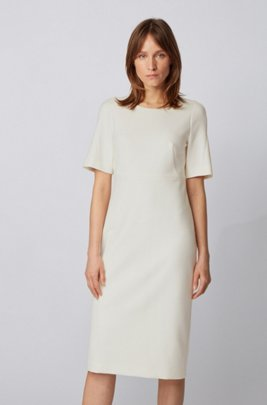 Midi-length dress in double-faced Portuguese stretch fabric, White