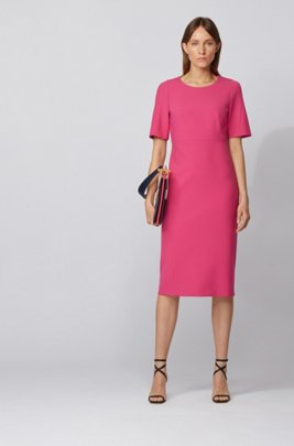 Midi-length dress in double-faced Portuguese stretch fabric, Pink
