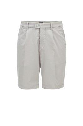 Slim-Fit Shorts aus elastischem Baumwoll-Mix mit Bundfalten, Hellgrau