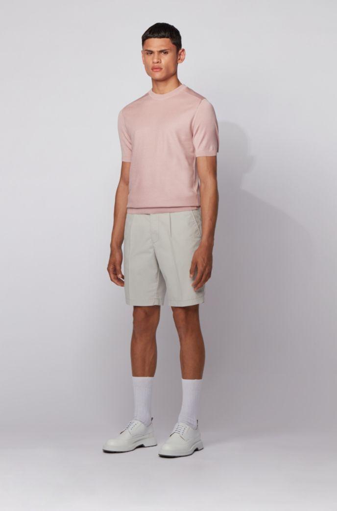 Slim-Fit Shorts aus elastischem Baumwoll-Mix mit Bundfalten