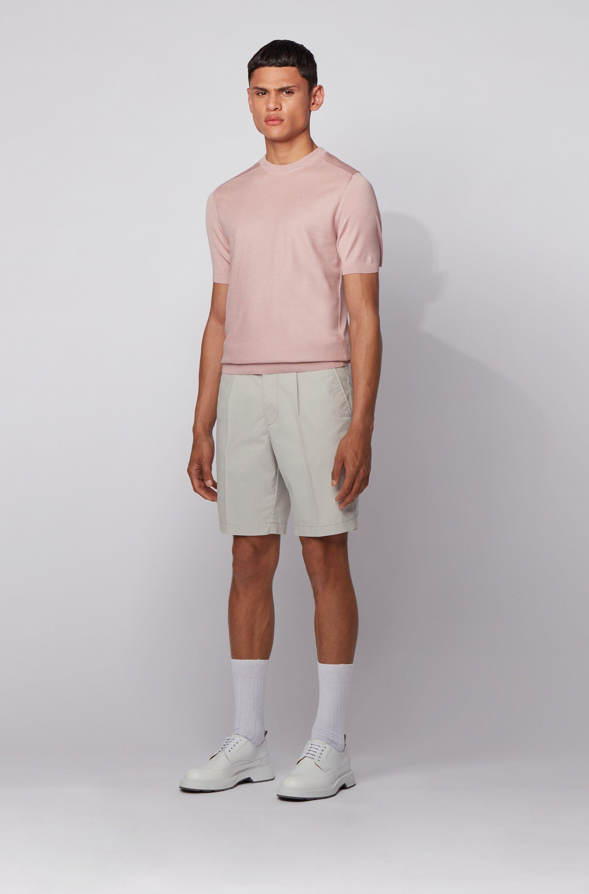 Shorts slim fit de mezcla de algodón con pinzas delanteras
