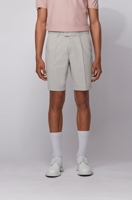 Pleat-front cotton-blend shorts in a slim fit, Light Grey