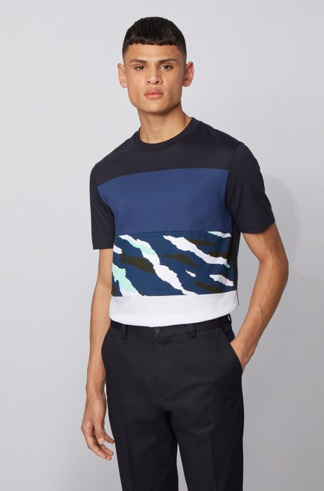 Colour-block T-shirt in cotton with animal-print panel, Dark Blue