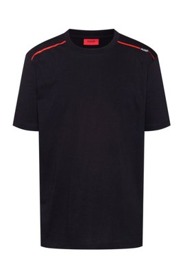 Cotton T-shirt with contrast logo stripe, Black