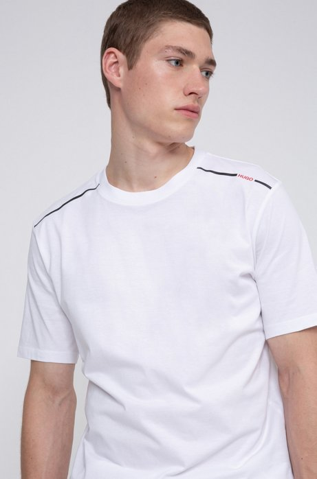 Cotton T-shirt with contrast logo stripe, White