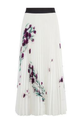 Jupe mi-longue plissée avec imprimé à fleurs placé, Fantaisie