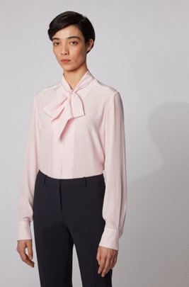 Monogram-print blouse in silk with tie-neck detail, Light Purple