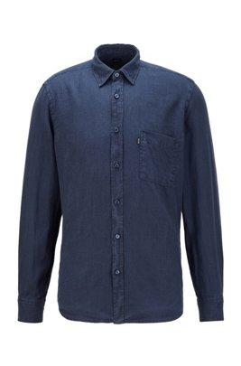 Regular-fit shirt in sun-bleached linen, Dark Blue
