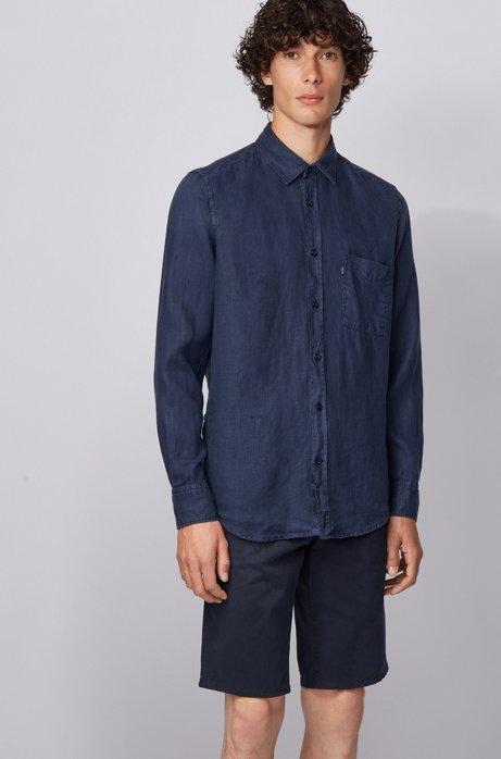 Regular-Fit Hemd aus sonnengebleichtem Leinen, Dunkelblau
