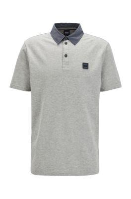 Poloshirt aus Baumwolle mit Wabenstruktur und Details in Denim-Optik, Grau