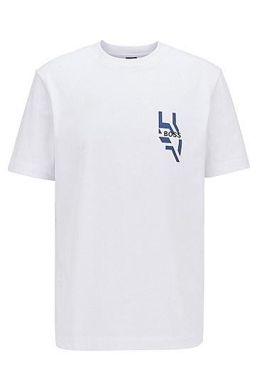 背面艺术风印花宽松 T 恤,  100_白色