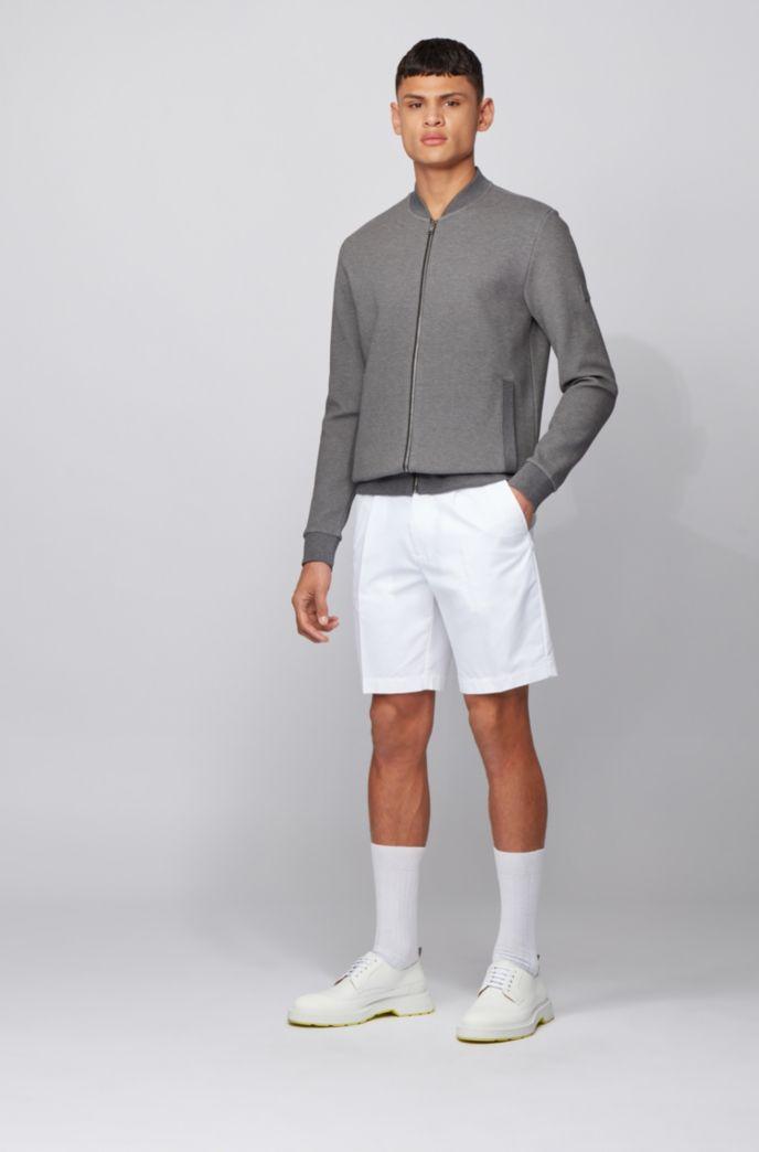 Sweater met ritssluiting, van een gestructureerde katoenmix met stretch