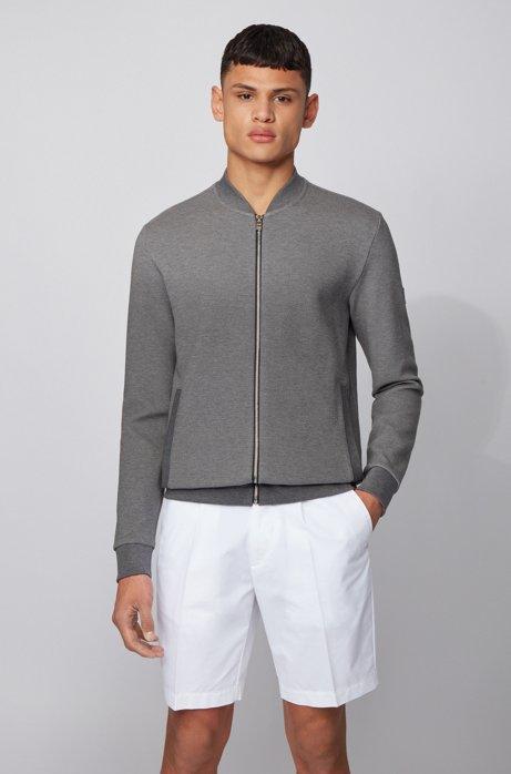 Sweatjacke aus strukturiertem Baumwoll-Mix, Grau