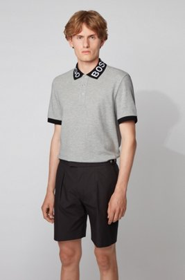 Regular-fit polo shirt with logo collar, ライトグレー